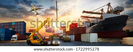 Industrial Container Cargo freight ship, forklift handling container box loading for logistic import export and transport industry concept backgroundtransport industry background #1722995278