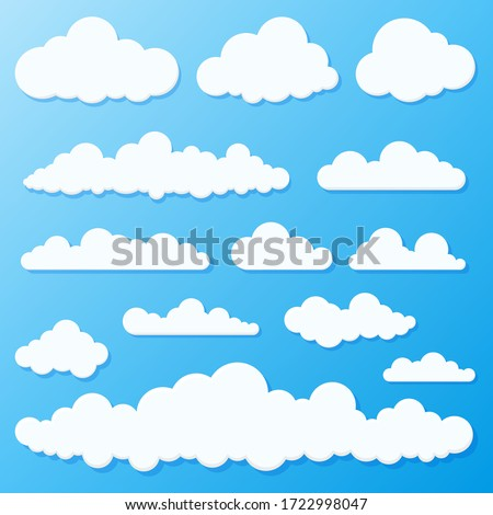 Set of blue sky, clouds. Cloud icon, cloud shape. Set of different clouds. Collection of cloud icon, shape, label, symbol. Graphic element vector. Vector design element for logo, web and print. #1722998047