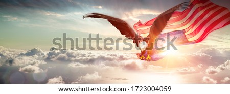 Eagle With American Flag Flying Over The Clouds  Royalty-Free Stock Photo #1723004059
