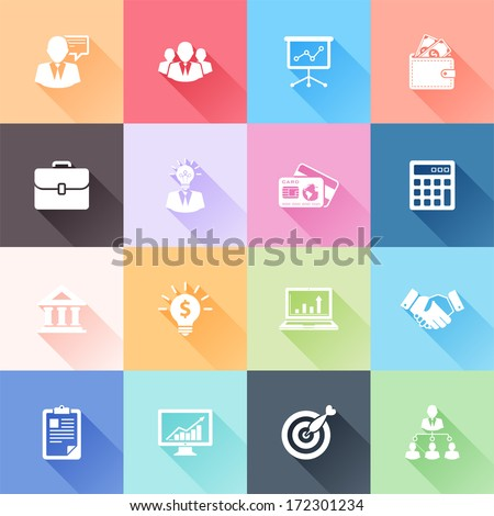 Vector set of 16 flat business icons with long shadow