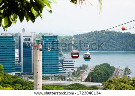 Veiw Of The Cable Cars At Mount Faber On Sentosa Island In Singapore #1723040134