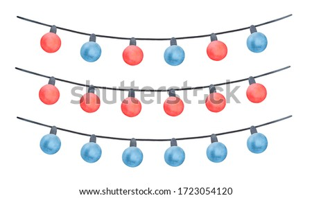 Hanging String Lights collection with red and blue glass bulbs variation. Hand drawn watercolour painting, cutout clipart details for creative design, greeting card, event banner, festive invitation.
