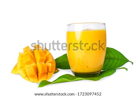 Mango smoothie. Compose the picture beautifully with mango leaves.