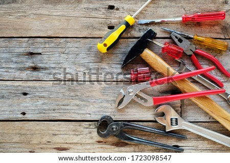 Background of various construction tools Royalty-Free Stock Photo #1723098547