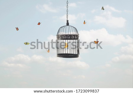 surreal image of a butterfly trapped in a cage and other free flying butterflies Royalty-Free Stock Photo #1723099837
