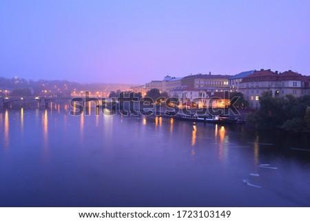 Alsovo Embankment on Vltava river in Prague Old Town. Early morning. Fog. #1723103149