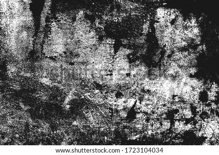 Distressed overlay texture of rusted peeled metal. grunge background. abstract halftone vector illustration #1723104034