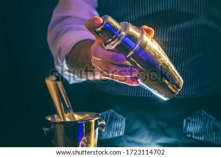 Bartender making a cocktail using cocktail shaker; barman shaking cocktail ingredients in cocktail shaker #1723114702