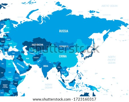 Asia - green hue colored on dark background. High detailed political map of asian continent with country, capital, ocean and sea names labeling. Royalty-Free Stock Photo #1723160317