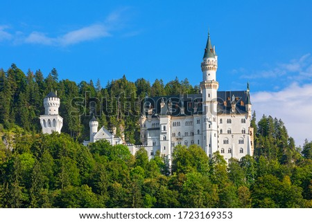 Amazing Neuschwanstein landscape  picture of the fairy tale castle near Munich in Bavaria, Germany