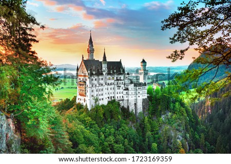 Neuschwanstein landscape panorama picture of the fairy tale castle near Munich in Bavaria, Germany