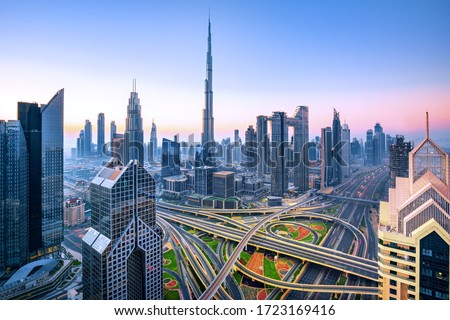 Dubai - amazing city center skyline with luxury skyscrapers, United Arab Emirates Royalty-Free Stock Photo #1723169416