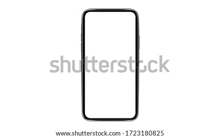 Smartphone with a blank screen lying on a flat surface. High Resolution Vector illustration of responsive web design ,app, template site,The shape of a modern mobile phone Designed New black frameless #1723180825