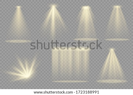Vector spotlight. Light effect.Glow isolated white transparent light effect. Abstract special effect element design. #1723188991