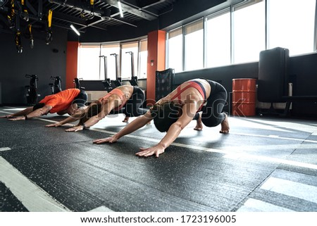 Young people doing exercise at gym animal flow class innovative movement Royalty-Free Stock Photo #1723196005