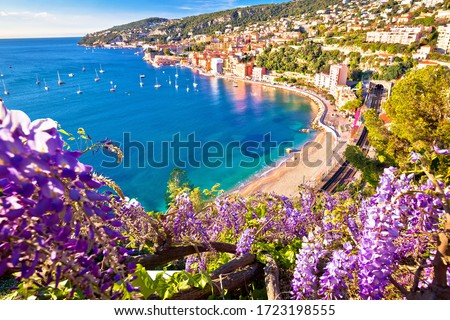 Villefranche sur Mer idyllic French riviera town colorful beach view, Alpes-Maritimes region of France Royalty-Free Stock Photo #1723198555
