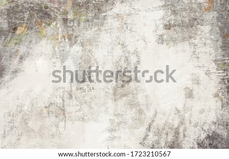 OLD NEWSPAPER BACKGROUND, SCRATCHED GRUNGE PAPER TEXTURE, DIRTY WALLPAPER PATTERN Royalty-Free Stock Photo #1723210567