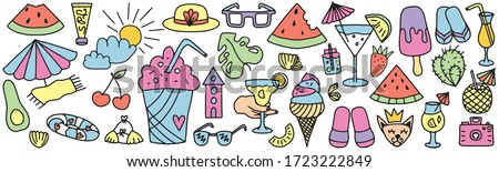 Summer doodles big set. Hand style Color vector items. Illustration with random elements. Design for prints and cards. #1723222849