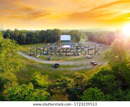 Aerial view of Northfield Drive-In Movie Theater at Sunset #1723239553