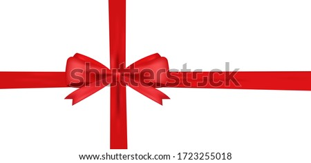 Realistic Red bow and horizontal ribbon shiny satin for decoration gifts, greetings, holidays. Stock vector illustration isolated on white background.