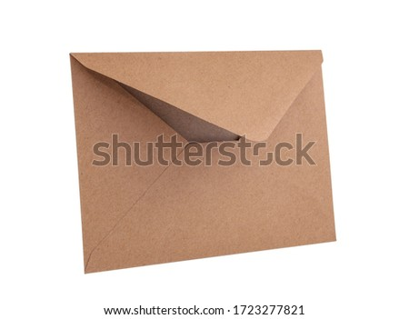 Empty brown vintage paper envelope isolated on the white Royalty-Free Stock Photo #1723277821