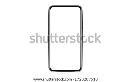 Smartphone with a blank screen lying on a flat surface. High Resolution Vector illustration of responsive web design ,app, template site,The shape of a modern mobile phone Designed New black frameless #1723289518