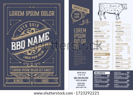 Retro template for  restaurant menu design. Vector layered. Royalty-Free Stock Photo #1723292221