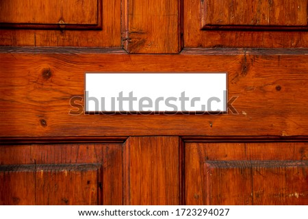 Clear nameplate on the door. Room for text. Conceptual photo