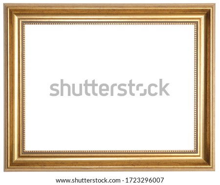 Golden photo frame. Isolated object on a white background.