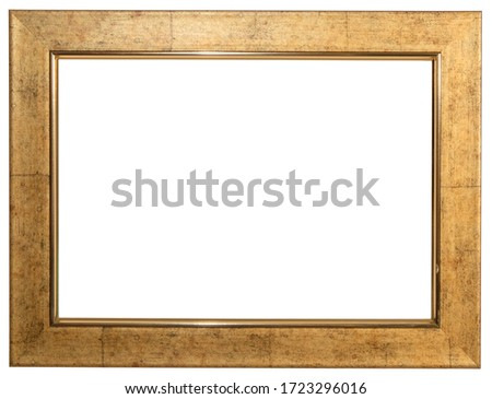 Golden frame. Isolated object on a white background.