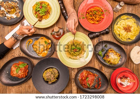 Top view composition with dishes of Italian food #1723298008