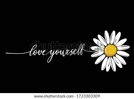 love yourself stay positive. monoline calligraphy banner with swashes for fashion graphics, t shirt prints, posters etc stationery,mug,t shirt,phone case  fashion style trend spring summer print  #1723303309