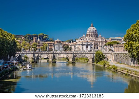 St peter's basilica in rome with the tiber #1723313185