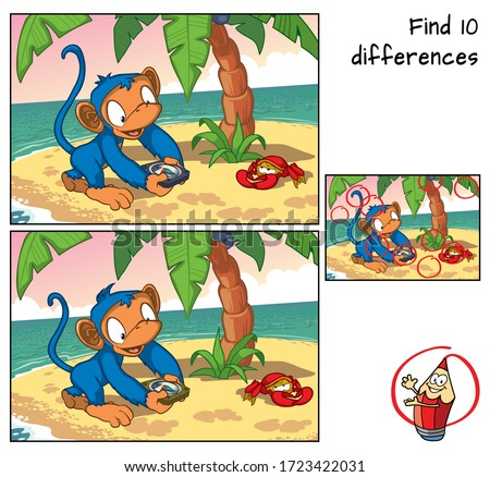 Monkey with a compass on a small island. Find 10 differences. Educational game for children. Cartoon vector illustration Royalty-Free Stock Photo #1723422031
