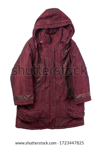 female dark red coat with a hood Isolated on a white background. autumn women's coat not wet from the rain top view #1723447825