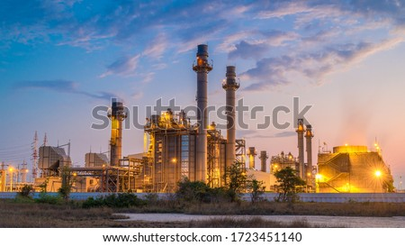 Gas turbine electrical power plant with in Twilight power for factory energy concept. Royalty-Free Stock Photo #1723451140