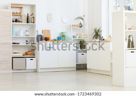 Image of domestic white kitchen with kitchen utensils and food #1723469302