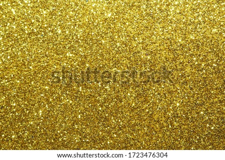 gold Sparkling Lights Festive background with texture. Abstract Christmas twinkled bright bokeh defocused and Falling stars. Winter Card or invitation	 #1723476304