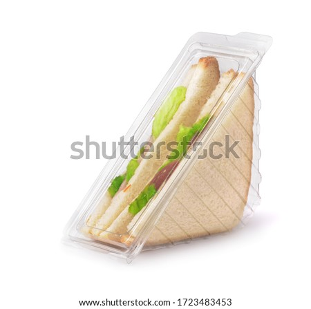 Sandwiches in clear plastic package isolated on white #1723483453
