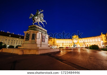 Splendid view of famous Hofburg Palace with Heldenplatz in Vienna, Statue of Emperor Joseph II. Location place Austria, Europe. Photo of traveling concept. Discover the beauty of earth. #1723484446