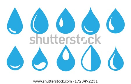 Vector blue water drop icon set. Flat droplet logo shapes collection #1723492231