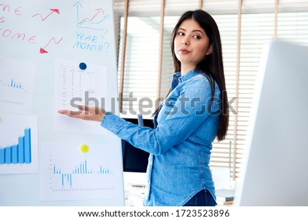 Woman leading a web conference using a whiteboard #1723523896