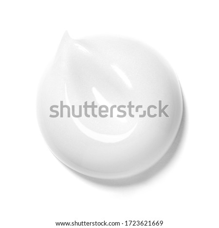 Collection of White Cosmetic Cream Isolated on White Background. Skin Tone CC Cream Tear Shape. Set of Lipstick Smear. Lip Gloss Smudge. Cosmetics BB Makeup Swatche. Drop of Liquid Foundation Stroke #1723621669