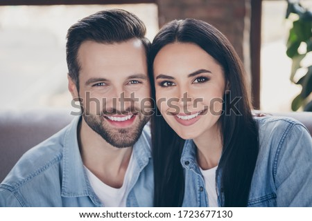 Close up photo of idyllic passionate loving family woman man enjoy spend quarantine together toothy smile wear denim jeans shirt in house room apartment indoors #1723677130