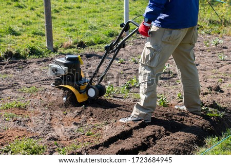 A male farmer plows the land with a cultivator. Agricultural machinery: cultivator for cultivating the soil in the garden in a small area, cultivator. #1723684945