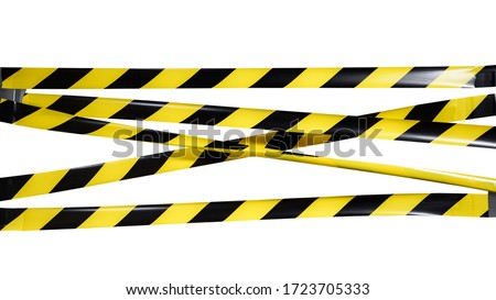 Do Not Cross criminal area from yellow and black warning police strip line isolated on white background. Caution lines. Danger and risk tape. Industrial protection sticky tape. Set small signs Royalty-Free Stock Photo #1723705333