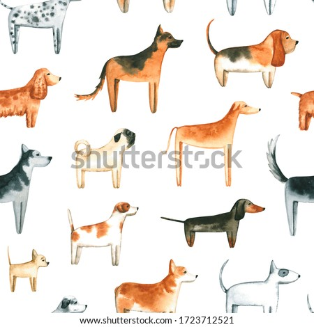 Seamless pattern with watercolor dogs. Hand drawn illustration is isolated on white. Painted pets are perfect for animal design, veterinary clinic, fabric textile, nursery wallpaper, interior poster