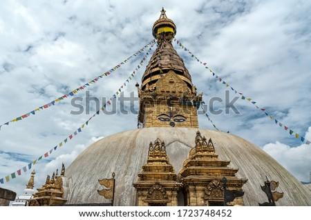 KATHMANDU, NEPAL - AUGUST, 24 2018: Swayambhunath Stupa or Monkey temple - Kathmandu Valley, Nepal - a World Heritage Site declared by UNESCO #1723748452