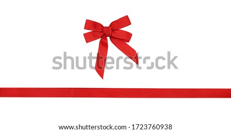 Red rep bow and ribbon isolated on white Royalty-Free Stock Photo #1723760938