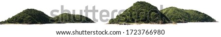 Panorama island, hill, mountain isolated on a white background, with clipping path. Mountain peak. Royalty-Free Stock Photo #1723766980